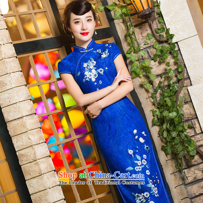 Eason Chan Chiu, skirts qipao point 2015 new products Lace Embroidery Tang Dynasty Chinese ethnic bride wedding dresses blue S mother load