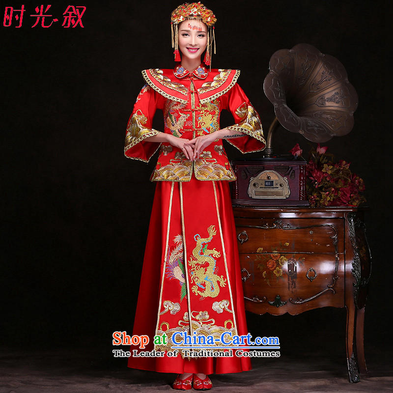 Time Syrian Chinese wedding gown retro dragon use marriages Soo Wo Service qipao autumn and winter new kimono gown Soo costume bows Bong-Koon-hsia wedding gown of previous Popes are placed red�XL