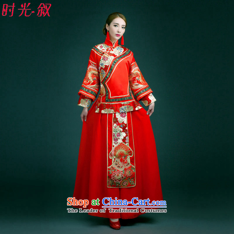 Time the?new 2015 Syria autumn and winter clothing bridal dresses Sau Wo Chinese wedding dress red wedding dresses bows to marry qipao autumn?S