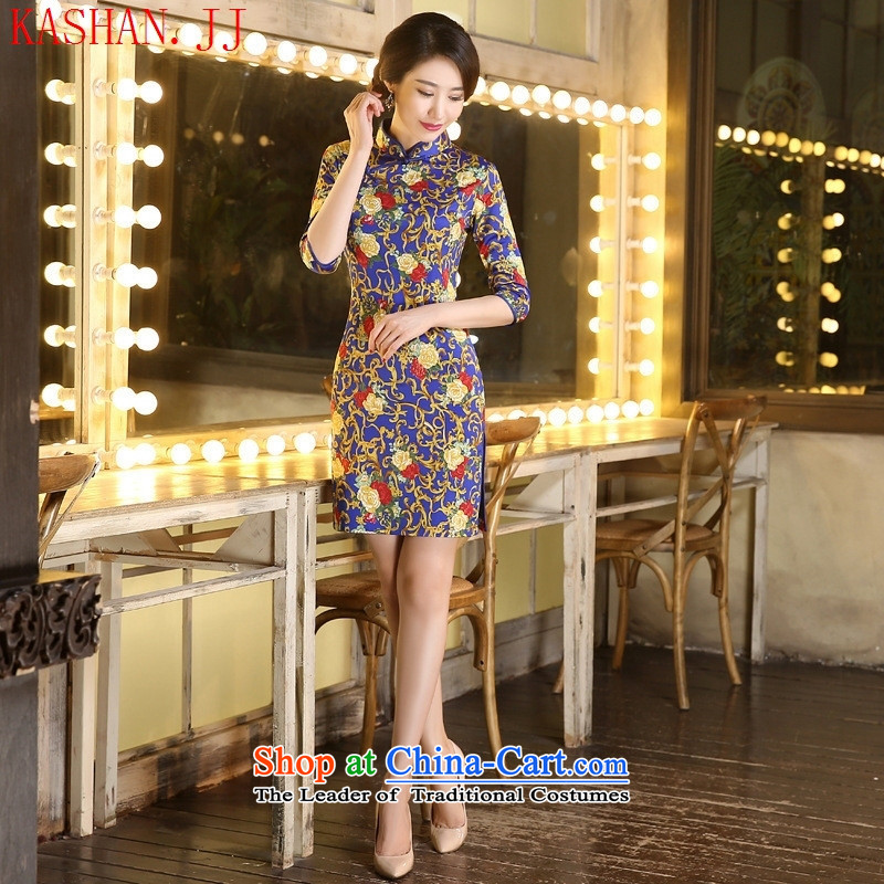 Mano-hwan's qipao in cuff cheongsam dress royal blue聽XXL