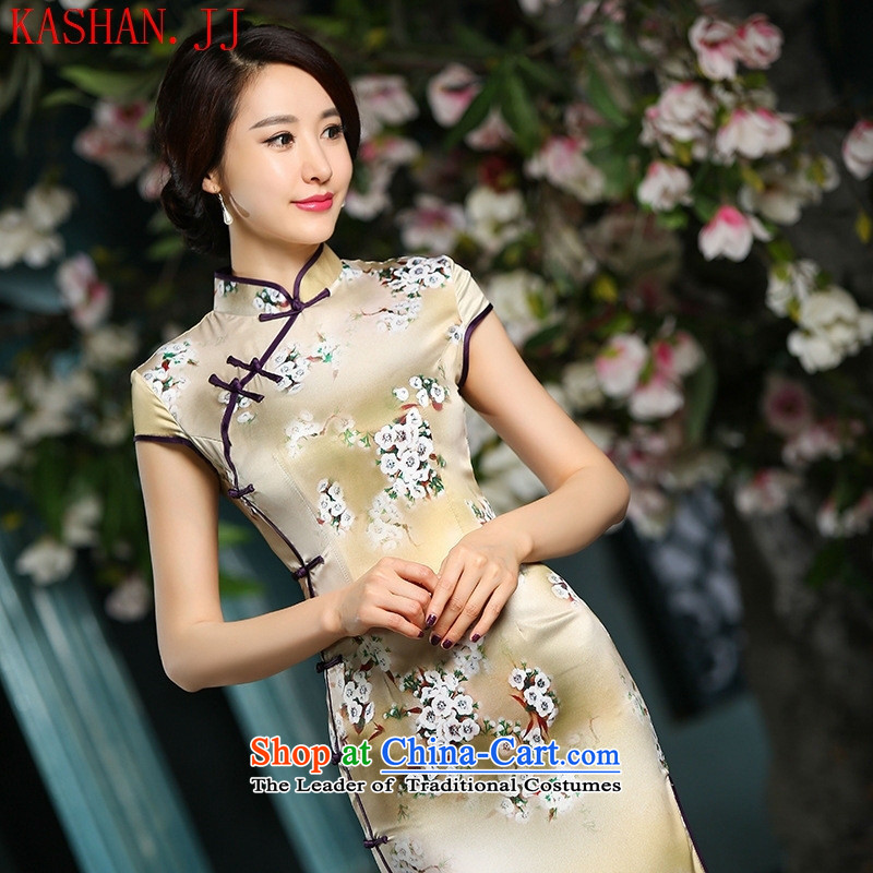 Mano-hwan's Summer 2015 new cheongsam dress heavyweight really Silk Cheongsam long daily retro improved long phillips-Sau San dress聽XL
