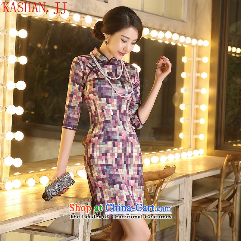 Mano-hwan's Silk Cheongsam 7 cuff retro grid style literature and art improved temperament in Sau San double qipao countries were also of camouflage,?XL