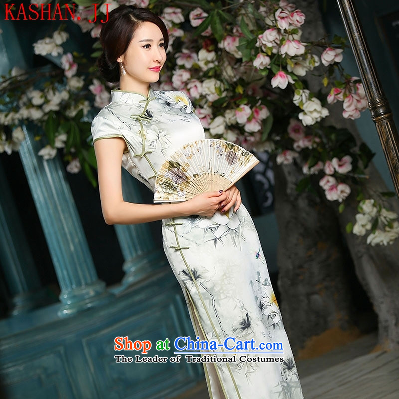 The NPFL has Xiao implied-hwan long heavyweight silk cheongsam dress cheongsam dress 2015 Spring/Summer new cheongsam long Lotus Dragonfly?L