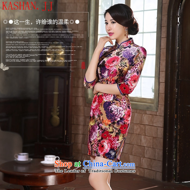 Mano-hwan's cheongsam dress 2015 new fall in cuff qipao Kim velvet skirt fashion in the improvement of elderly mother with purple floral燲L