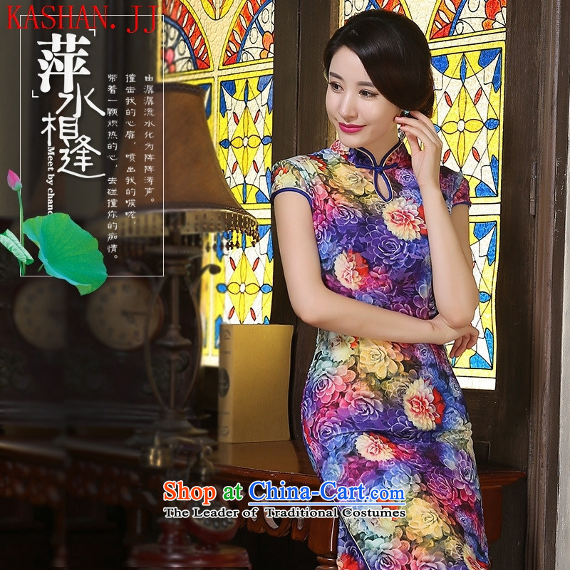 Mano-hwan's 2015 new autumn qipao Stylish retro long scouring pads in older wedding Kim improved cheongsam dress Huakai Fugui Huakai Fugui?M