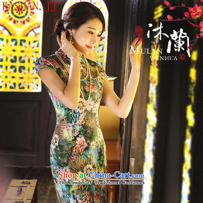 Mano-hwan's qipao summer and fall of Chinese New improved long-Day Banquet velvet gown stage shows green-tail flower?S