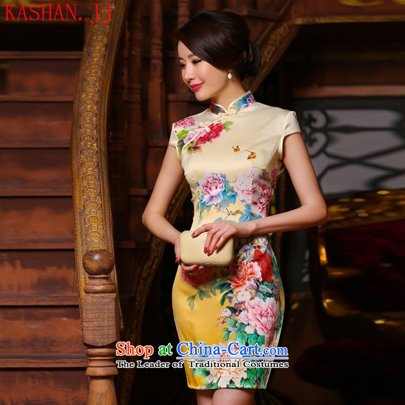 Mano-hwan's summer New Silk Cheongsam Stylish retro improved daily short cheongsam dress temperament and sexy Sau San pink color graphics thin M