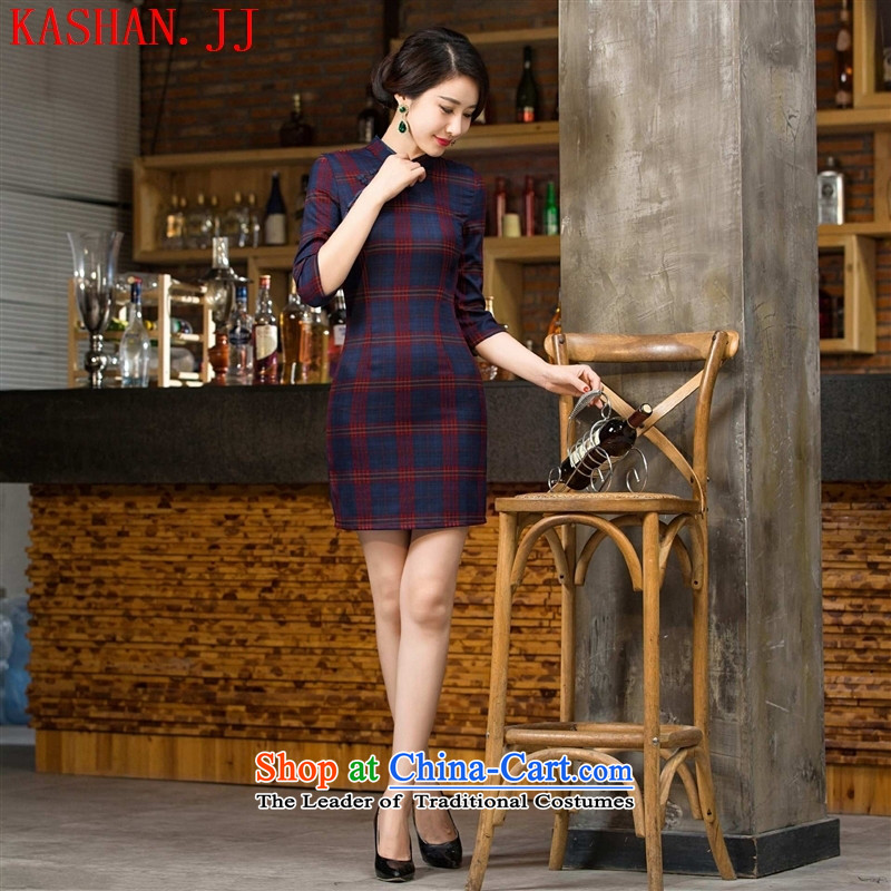 Mano-hwan's Red Box 2015 improved cheongsam dress cuff retro style qipao improved Ms. load autumn cheongsam dress figure燣
