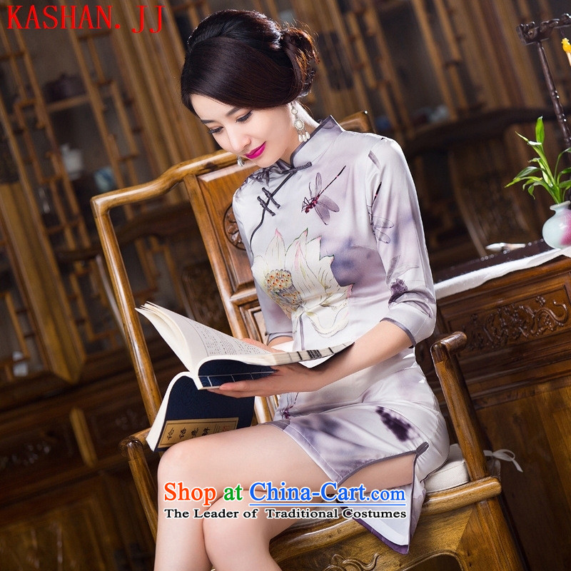 Mano-hwan, in 2015, the improvement of qipao cuff qipao skirt new stylish retro fitted qipao improved Ms. Qiu cheongsam dress figure M