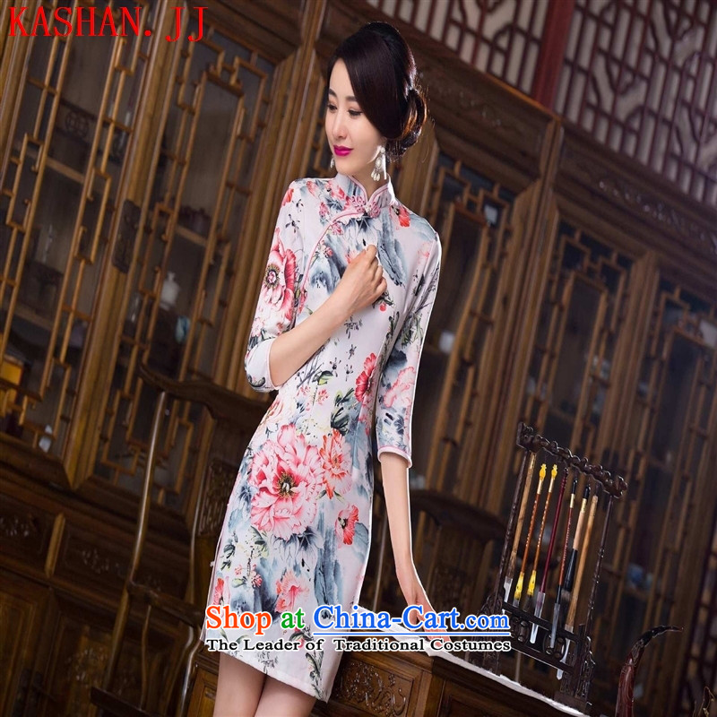 Mano-hwan's 2015 improvement qipao cheongsam dress cuff new stylish retro fitted qipao improved Ms. Qiu cheongsam dress figure燣