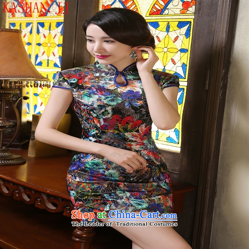 Mano-hwan's stamp qipao cheongsam dress water classic?XL