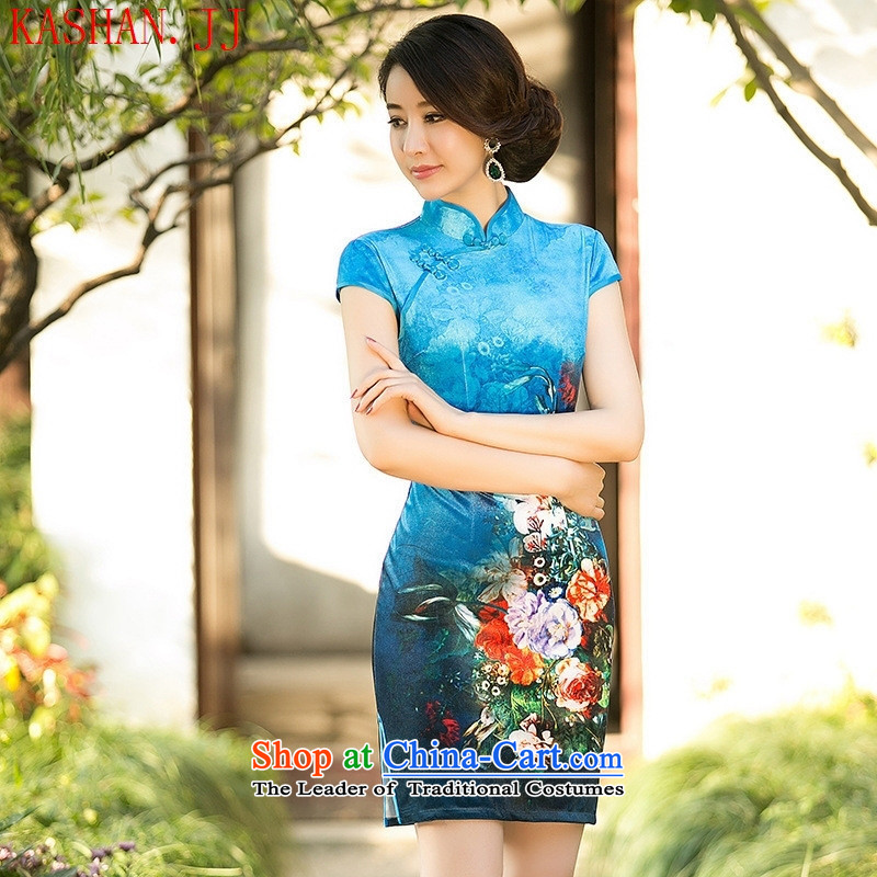 Mano-hwan's autumn and winter new counters Digital positioning flower cheongsam dress velvet short-sleeved improved stylish poster cheongsam blue燣