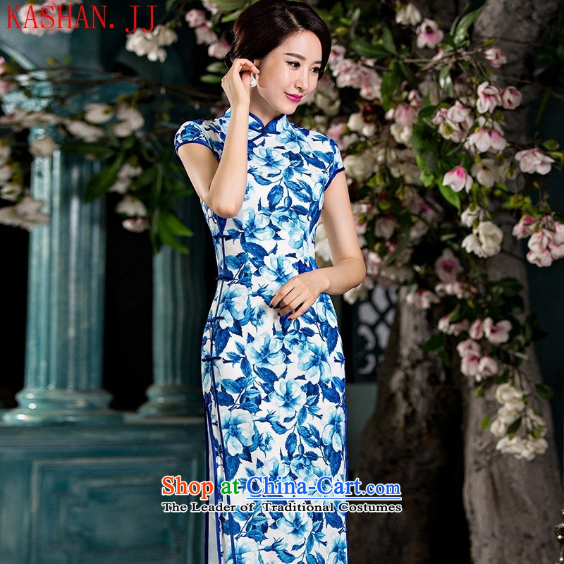 Mano-hwan's new double Silk Cheongsam long daily Popular national wind female graphics thin ethnic performances cheongsam long porcelain?XL