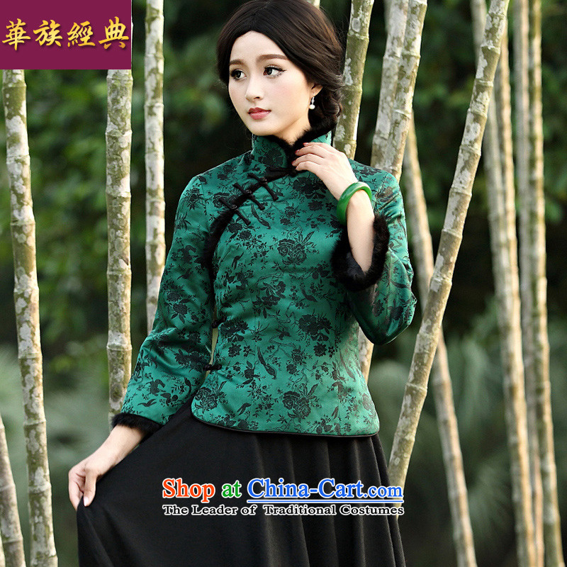 Chinese New Year 2015 Classic Serb President Tang dynasty fashion clothes spring winter coats of Chinese cotton retro improvements folder Han-green燲L