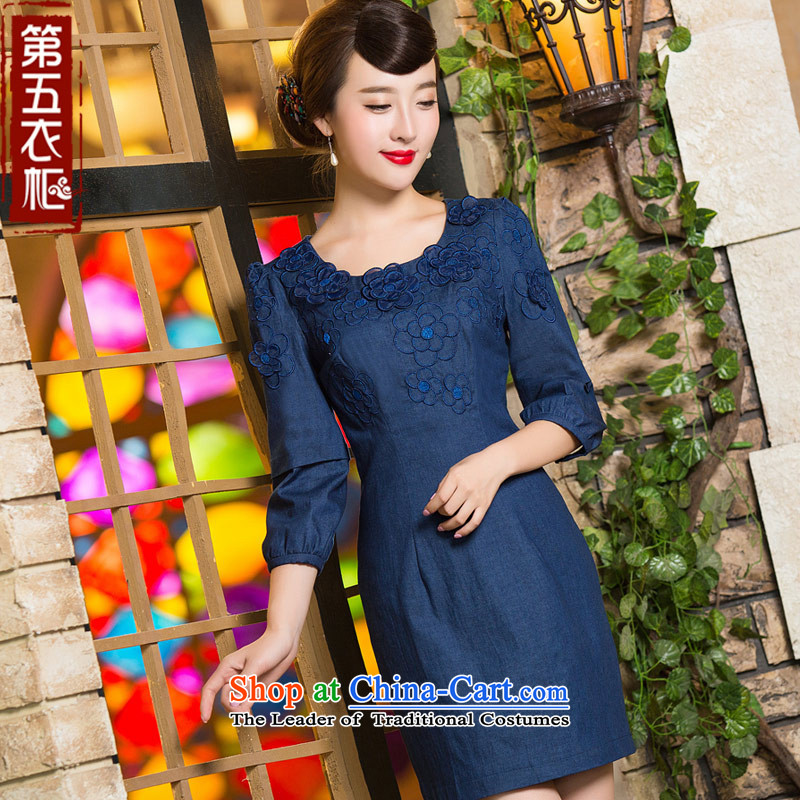 Eason Chan point cheongsam dress autumn 2015 new boxed 7 cuff stylish graphics thin improved girls Sau San daily cowboy dresses dark blue燲L