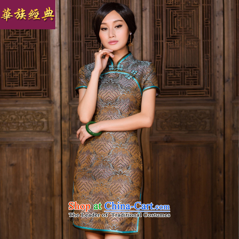 China Ethnic classic damask high-end Chinese banquet Ms. videos cheongsam dress China wind retro improved short, Suit聽M