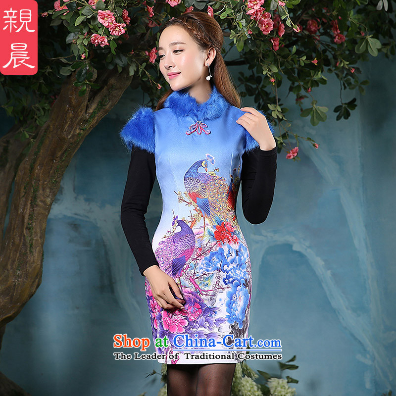 The pro-am autumn and winter 2015 Ms. new traditional cheongsam dress retro daily improved stylish folder cotton waffle dresses picture color?2XL