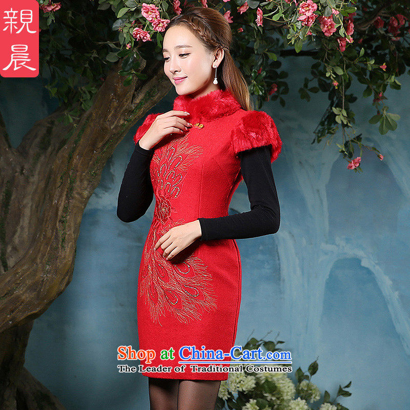 At 2015 new parent cheongsam dress autumn and winter new Tang Dynasty Chinese style red Ms. daily long skirt RED?M
