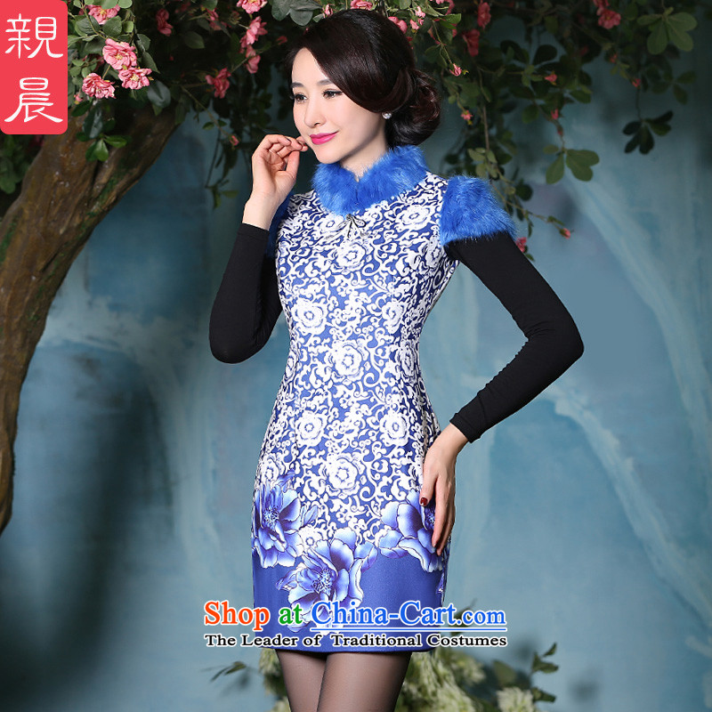 At 2015 new pro-autumn and winter cheongsam dress thick daily improved Tang Dynasty Chinese antique style, dresses picture color�L