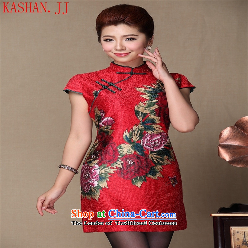 Mano-hwan's 2015 new improved stylish heavy industry Sau San banquet qipao wedding dress uniform QF140507 RED?XXL toasting champagne