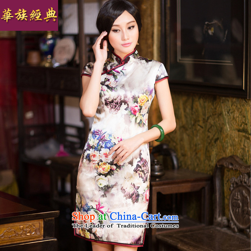 China Ethnic classic silk herbs extract new president cheongsam dress 2015 summer daily short of stylish Sau San suit燲L