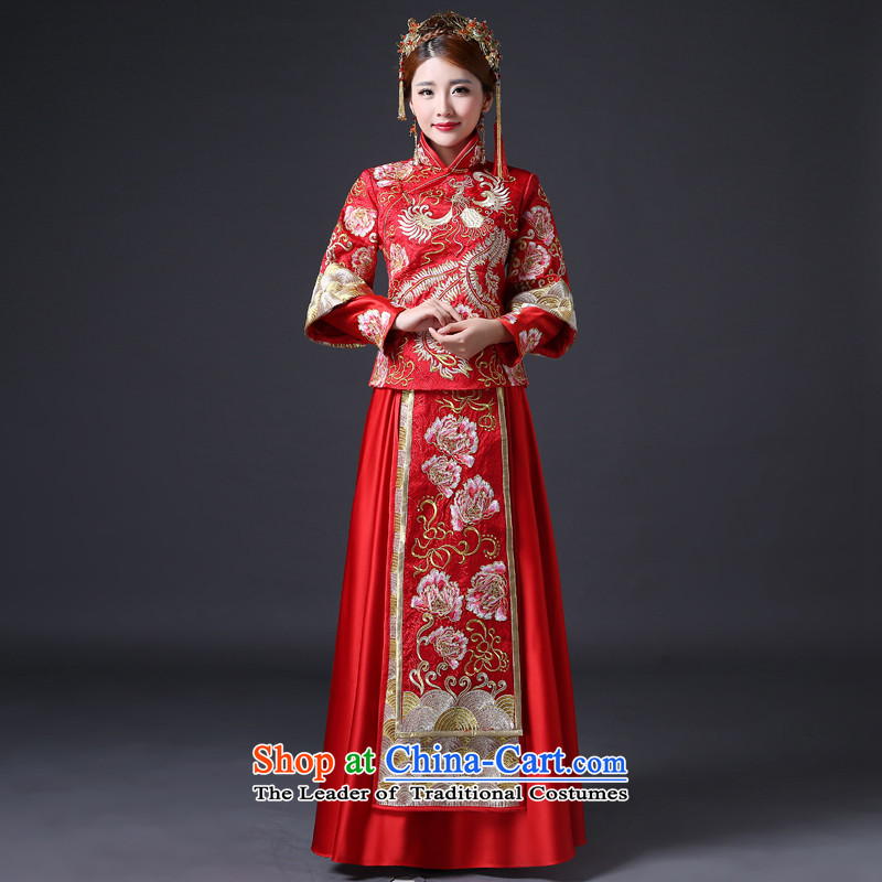 Sau Wo Service 2015 new bride dress long serving Chinese qipao bows wedding longfeng use the wedding dress retro female red XL