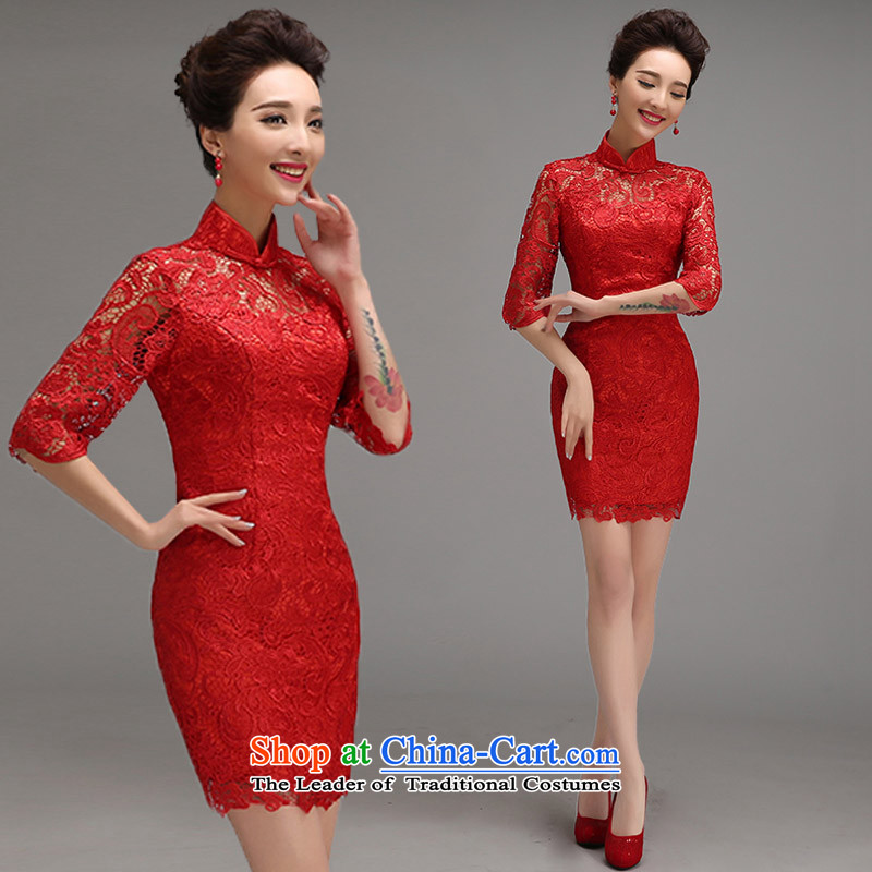 2015 new bride services qipao summer short bows of wedding dress lace Sau San Chinese cheongsam dress female RED?M