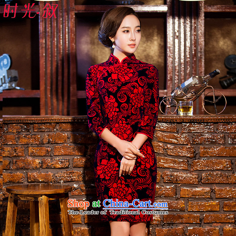 Time Syrian� 2015 Fall_Winter Collections New Stylish retro in style qipao suit long-sleeved mother qipao 7 daily cheongsam dress red燲XL
