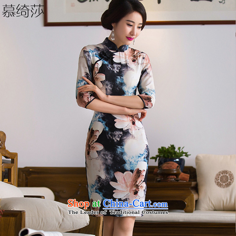 The cross-sa�2015 Autumn bloom on the replace qipao improvement of Ms. Stylish retro cheongsam dress 7 cuff dress tea service�Q284�picture color�XL