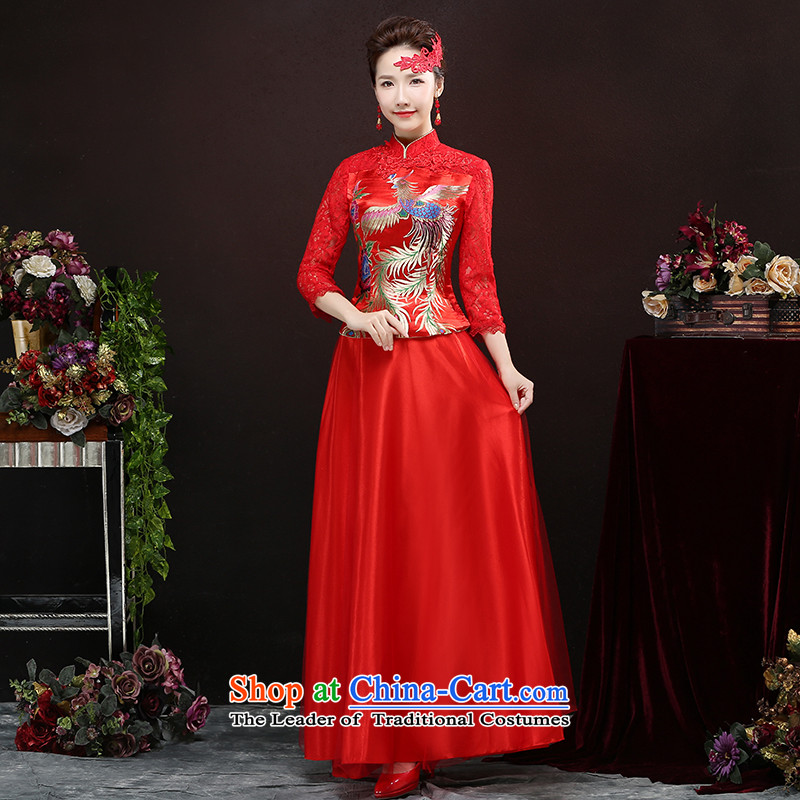 2015 new bride wedding dress cheongsam red bows to Chinese wedding Tang Dynasty Show Wo service long autumn female RED M