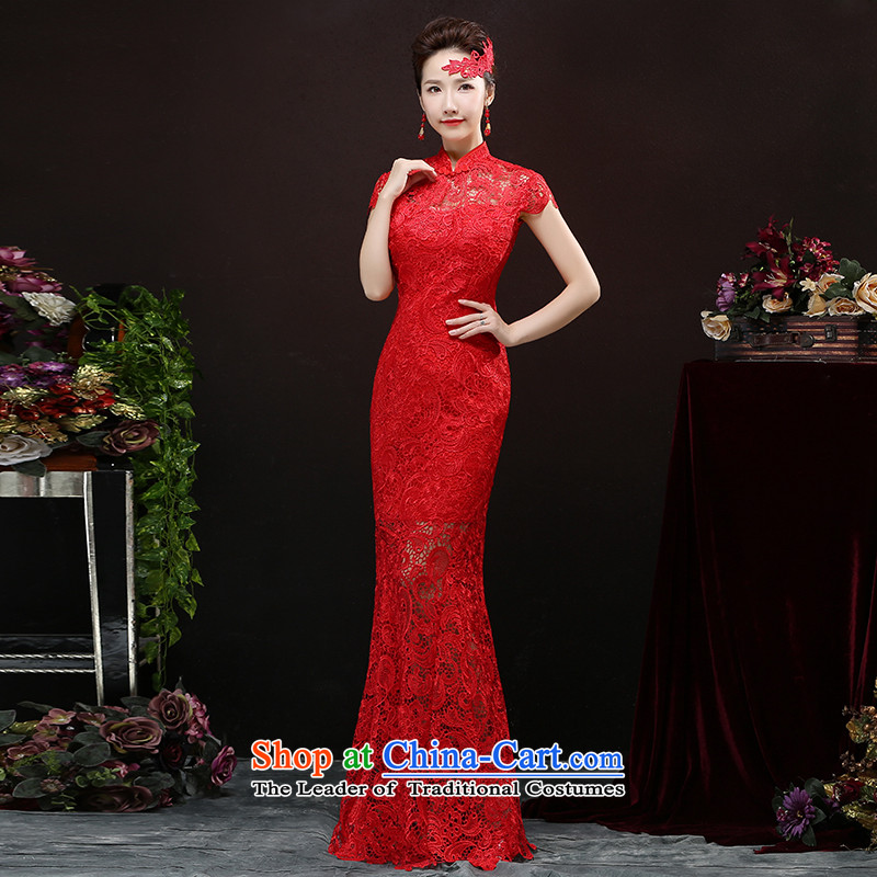 Toasting champagne served cheongsam dress 2015 new wedding dresses red long of Chinese wedding dress autumn girl brides red?XL