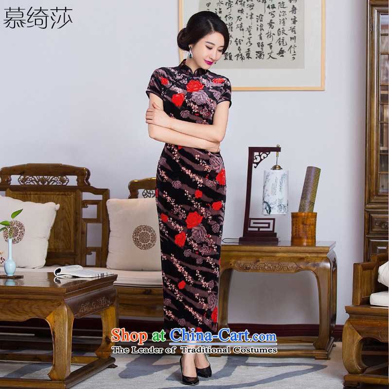 The cross-sa�15 improved qipao Feng Hua autumn long, Retro MOM pack the elderly in the skirt qipao cheongsam dress in long燪285爌icture color燣