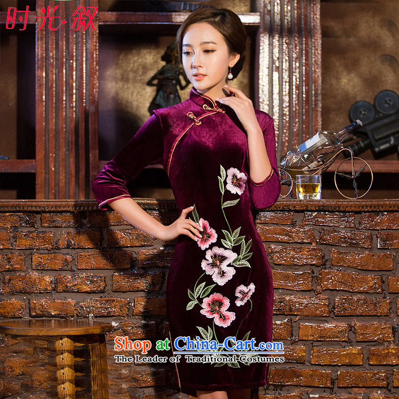 The Syrian Arab Republic? 2015 Autumn time new stylish retro qipao Kim scouring pads in the dark red long 7 load cheongsam dress cuff mother deep red?XL