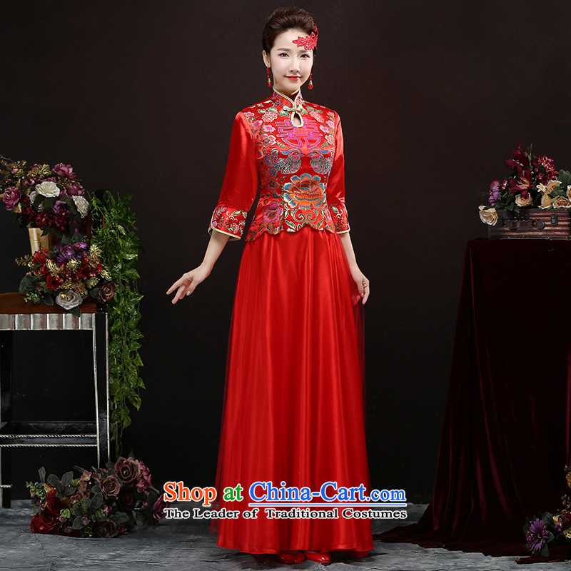 2015 new fuyuhide wo service use the Dragon Chinese wedding dresses retro bride bows wedding gown wedding dress female red S