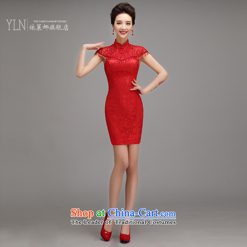 Toasting champagne marriage services 2015 new qipao Fall/Winter Collections fashion improved short, red bride dress thin female Red Sau San video?M