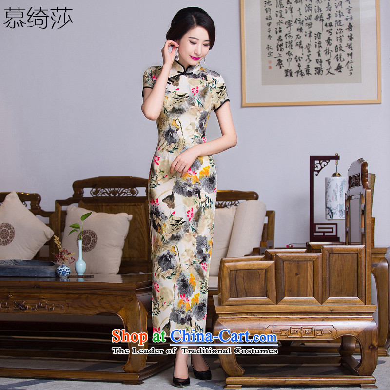 The cross-sa�15 cheongsam dress fall retreat with the new long qipao improvements in stylish retro older cheongsam dress MOM pack燪288爌icture color燬