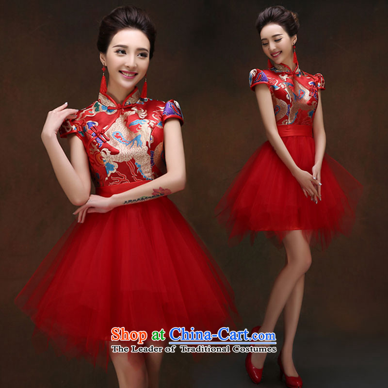 Sau Wo Service 2015 new bride qipao Chinese wedding dress red bows service improvement, Retro into wine red S