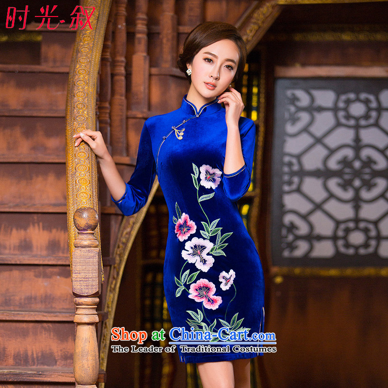 Time the� new 2015 Syria Kim scouring pads for autumn and winter Stylish retro qipao in long blue 7 cuff cheongsam dress mother blue燲XL