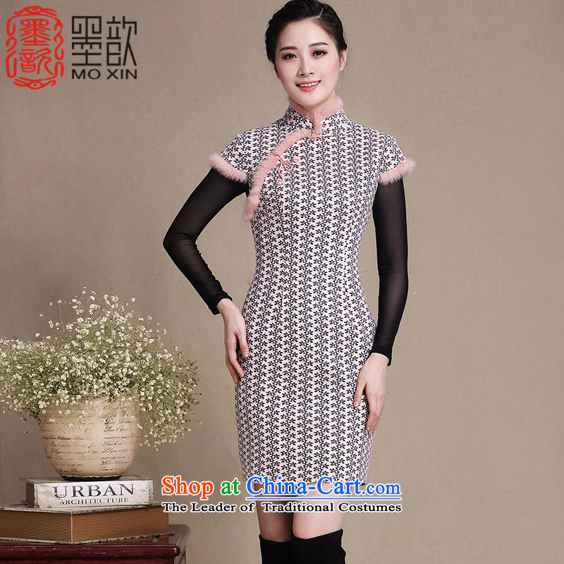 聽In 2015, the snowflake 姝� ink long improved qipao winter clothing retro cheongsam dress New Sau San double cheongsam dress聽Y5139聽picture color聽XXL