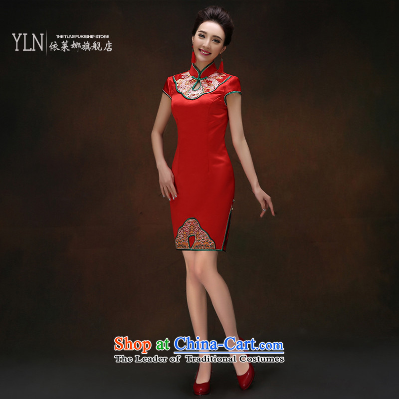 Summer 2015 China wind bows to the bride wedding dress improved retro embroidery flower short of Qipao Red Red?M