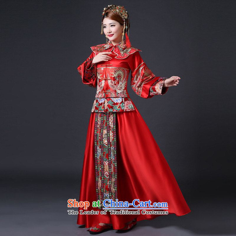 In accordance with the Lena Sau Wo Service Bridal Wedding Dress Chinese long-sleeved red bows services retro cheongsam long dragon use RED?M