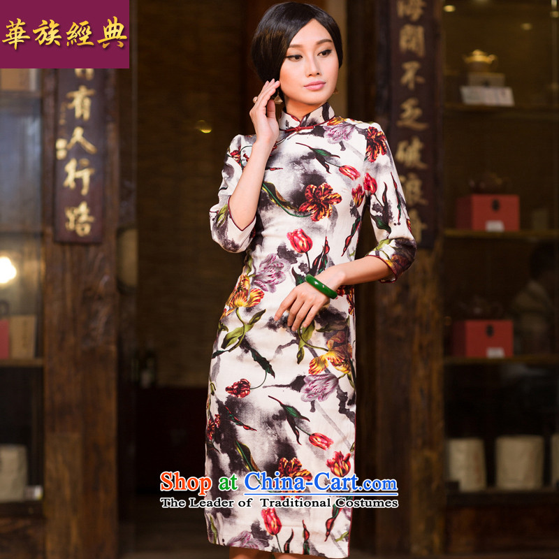 Chinese New Year 2015 classic ethnic autumn in the ordinary course of Ms. improved long-sleeved cheongsam dress Chinese Antique Sau San suit XXL