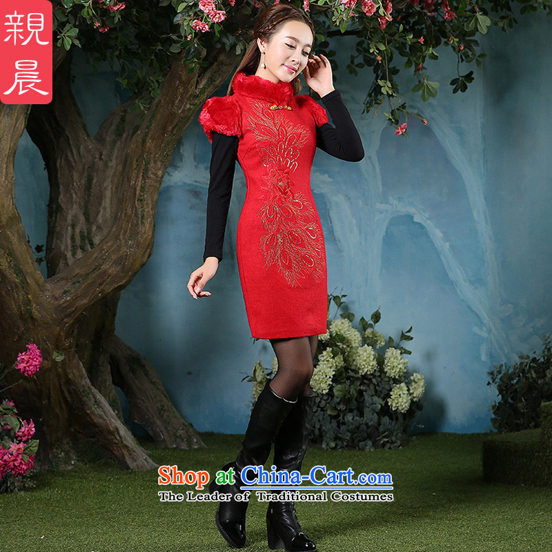 At 2015 new parent cheongsam dress autumn and winter new Tang Dynasty Chinese style red Ms. daily long skirt picture color?M