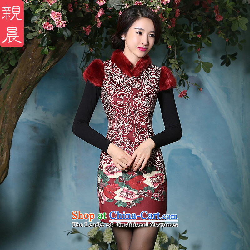 The pro-am new thick cotton 20152 qipao Stylish retro-day Chinese women improved load autumn and winter, dresses picture color燲L