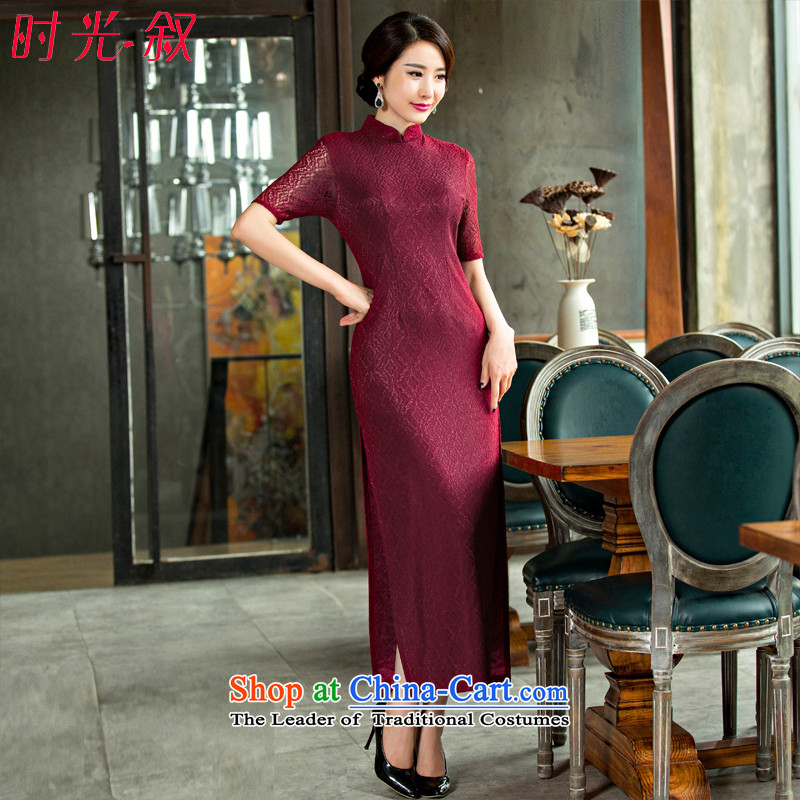 Time the? new autumn 2015 Syria lace elegant qipao improvement cuff retro style in Sau San long cheongsam dress cheongsam with mother deep red?M
