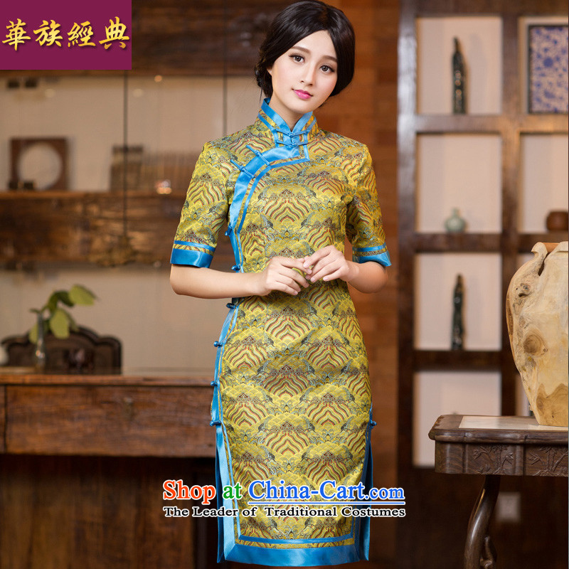 Chinese New Year 2015 classic-chiu, long-sleeved improved cheongsam dress long Chinese Dress Short retro Ms._ Cuff?M