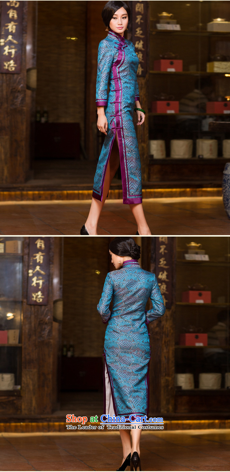 Chinese New Year 2015 classic ethnic autumn long-sleeved cheongsam dress long Sau San improved stylish Chinese Dress Short of female cuff L picture, prices, brand platters! The elections are supplied in the national character of distribution, so action, buy now enjoy more preferential! As soon as possible.