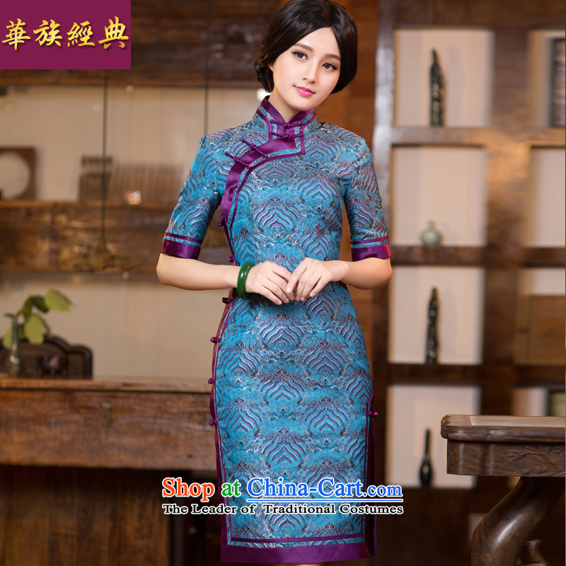 Chinese New Year 2015 classic ethnic autumn long-sleeved cheongsam dress long Sau San improved stylish Chinese Dress Short of female cuff?L
