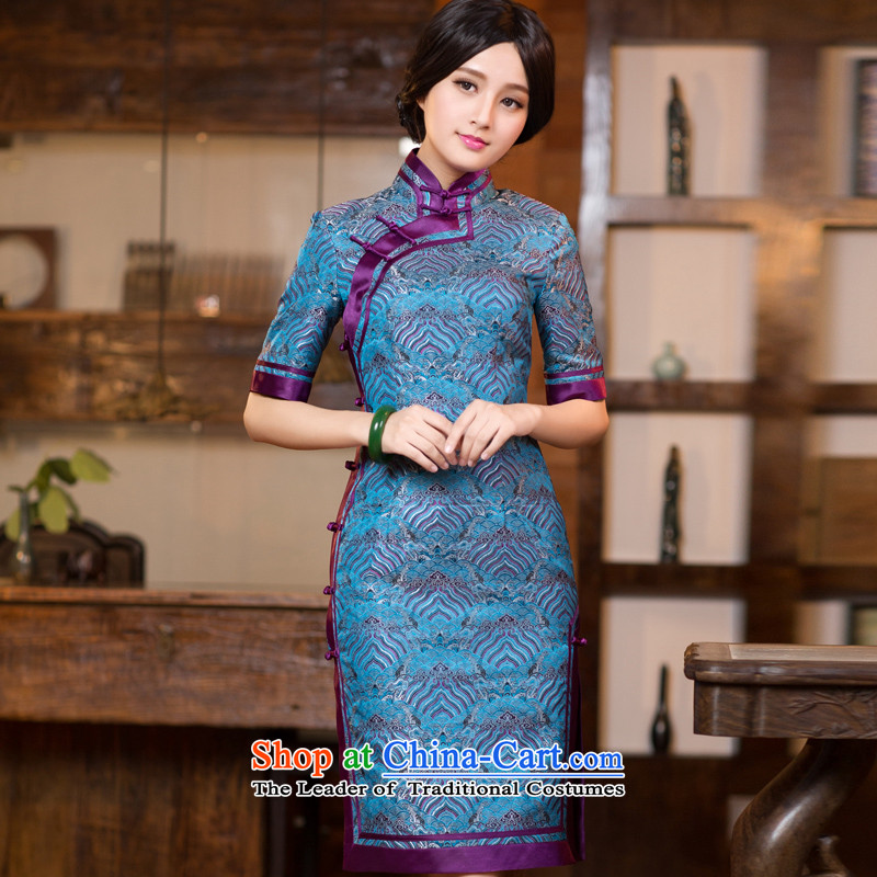 Chinese New Year 2015 classic ethnic autumn long-sleeved cheongsam dress long Sau San improved stylish Chinese Dress Short of female cuff , L, China Ethnic Classic (HUAZUJINGDIAN) , , , shopping on the Internet