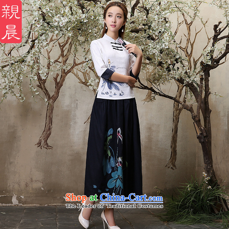 The new 2015 pro-morning with cotton linen daily autumn improved fashion, cuff cheongsam dress dresses traditional Tang blouses shirt +P10016 navy blue long skirt�2XL